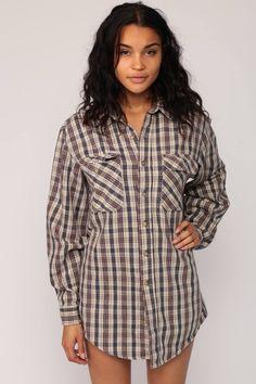Carhartt Shirt Plaid Flannel Shirt 90s Grunge Lumberjack Brown