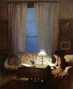 """Reading by lamplight (Twilight: Interior)"" by George Clausen"