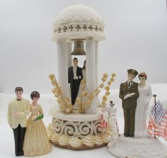 Vintage Wedding Cake Toppers 1940s Military - 1950s Plaster