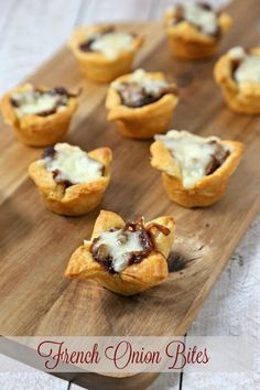 French Onion Bites from CookingInStilettos.com has the flavors of the classic soup in a chic appetizer. Buttery @pillsbury Crescent Roll dough is baked with richly caramelized onions and savory fontina cheese. How easy is that? #Pillsbury #acmemarkets #sponsored