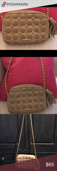 Rebecca Minkhoff Gold/Beige Cross Body Bag Quilted cotton beige canvas bag with gold finish to add a sparkle- tassel zip closure and gold long cross body chain Rebecca Minkoff Bags Crossbody Bags