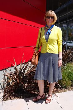 Andrea's Wellness Notes: Yellow Cardigan & Blue and White Striped Dress