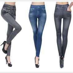Plus Size S-2XL Woman Jean Leggings Blue Black 2 Real Pockets Mid Waist Slim Europe Fold Stretch Legging Women  #styles #cute #fashion #outfit #model #purse #beautiful #jewelry #stylish #style #makeup #jennifiers #hair #beauty #outfitoftheday