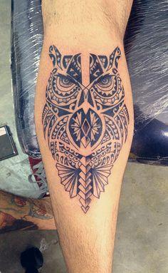 Tatuagem / Maori / Tribal / Polinésia / Coruja / Perna / Panturrilha / Tattoo…                                                                                                                                                                                 Mais