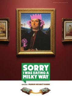 Nouvelle affiche publicitaire pour Milky Way Caramel sur le thème de l'humour : Painting