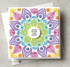Kaleidoscope Cards Video by Jennifer McGuire Ink Card Making Inspiration, Making Ideas, Welcome Home Cards, Jennifer Mcguire Ink, Rainbow Card, Rainbow Colors, Envelope, Miss You Cards, Card Making Techniques