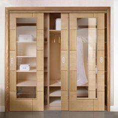 Bespoke Thruslide Ravenna Oak Glazed 3 Door Wardrobe and Frame Kit - Prefinished - Lifestyle Image. Bedroom Closet Design, Wardrobe Design, Track Door, Sliding Wardrobe Doors, Bedroom Cupboards, Mdf Frame, White Doors, Ravenna, Drawing Fashion