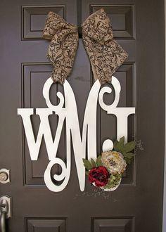 Custom MONOGRAM door wreath / BURLAP bow/ by knittybittyapparel, $80.00