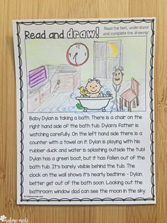 Drawing Based on Reading Comprehension 2 - Use this 20 page resource with your 1st, 2nd, 3rd, or 4th grade classroom students. These early or fast finisher tasks have students read a text and complete a drawing based on the information. They get practice in visualizing, following instructions, prepositions (grammar), and reading comprehension. Make sure to download the preview for a FREE sample! {first, second, third, fourth graders, ELA, reading, EFL, ELL, ESL, ELD, Language Arts}