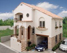 変形地を上手に利用したスキップフロアーのガレージハウス。ガレージの上は中二階の子供室です。|南欧風住宅・プロヴァンス|アーチ|砂岩|