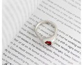 Red Silver Ring, Red Glass Ring, Gift for Her, Statement Ring, Red Statement Ring, Ring for Mom, Silver Ring, Gift Ring, Red Glass Ring