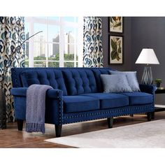Blue Velvet Tufted Sofa Nail Head Accents