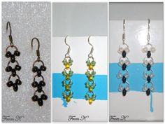 Beaded Earrings, Drop Earrings, Chain Mail, Czech Glass Beads, Bead Weaving, Bronze, Facebook, Black And White, Yellow