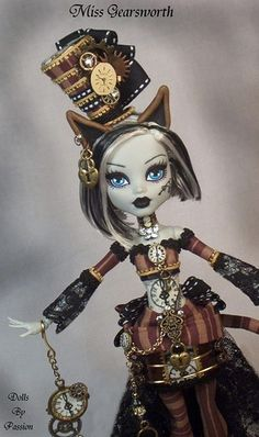My-dolly — «Monster High Steampunk Cat Kitten Frankie Stein Doll OOAK Altered… Custom Monster High Dolls, Monster Dolls, Monster High Repaint, Custom Dolls, Steampunk Dolls, Steampunk Cat, Style Steampunk, Pretty Dolls, Beautiful Dolls