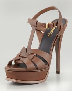 Tribute Platform Sandal, Taupe by Saint Laurent at Neiman Marcus.  YSL. NEED!