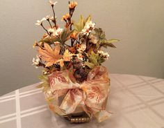 S O L D --- Fall floral arrangement, Fall arrangement in brass colored metal bucket, Fall table sitter, Fall centerpiece with squirrel, Autumn decor