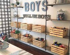 If I had boys, this space from would serve as major room inspo! From the buffalo check wallpaper to the metal & wood… If I had boys, this space from M+B Design would serve as major room inspo! From the buffalo check wallpaper to the metal & wood… Playroom Design, Kid Playroom, Playroom Decor, Kids Bedroom Boys, Playroom Organization, Boys Shared Bedroom Ideas, Big Boy Bedrooms, Little Boy Bedroom Ideas, Kids Playroom Storage