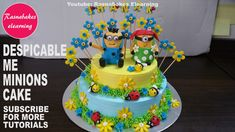 Minion cake:happy birthday cake for boys and girls:birthday cake decorating video 10th Birthday Cakes For Girls, Happy Birthday Cake Pictures, Special Birthday Cakes, Frozen Birthday Cake, Easy Cakes For Kids, Cake Recipes For Kids, Cake Decorating Videos, Birthday Cake Decorating, Simple Cake Designs