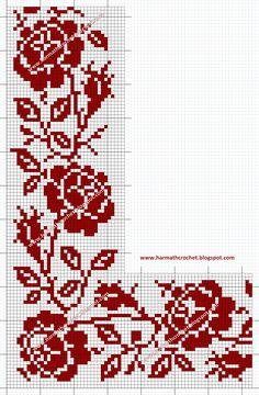 Crochet Curtain Pattern, Tapestry Crochet Patterns, Crochet Edging Patterns, Filet Crochet Charts, Crochet Cross, Crochet Borders, Baby Cross Stitch Patterns, Cross Stitch Rose, Cross Stitch Borders