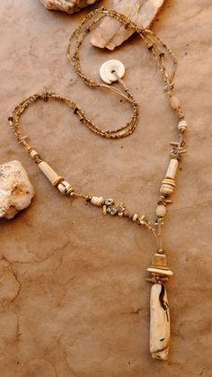 Primitive Luxe Handwoven Beaded Necklace + Antique Naga Shell Focal Bead…