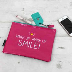 Happy Jackson Large Pink Zip Wake Up Make Up Smile Make Up Bag Available At Pink Cadillac Instore And Online At www.pinkcadillac.co.uk