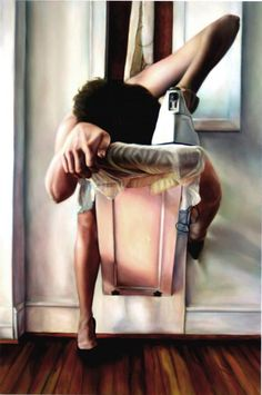 A collection of oil paintings by Ana Teresa Fernandez. Her paintings show different situations, mostlyin an erotic and veryfeminine way.The black high heels are particularly striking in some of her work.
