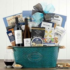 Wine Gift Baskets - Deluxe Wine Gift Basket Summer Gift Baskets, Wine Country Gift Baskets, Summer Gifts, Wine Gifts, Wines, Holiday Gifts, Treats, Snacks, How To Make
