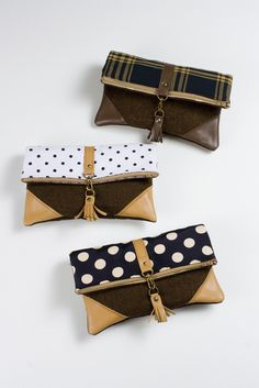 Image of foldover crossbody bag in vintage black + white polka dots with leather corners + tassel