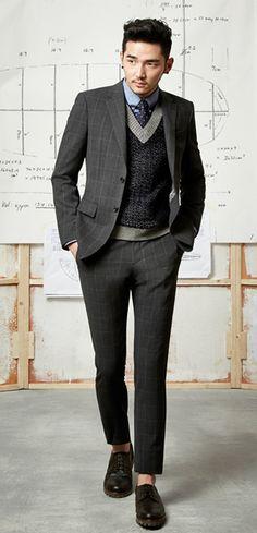 [T.I FOR MEN] Men Suits Suit Jackets GREY WINDOW PANE PLANE SUIT JACKET M142MTJ121M