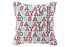 One Kings Lane - All for Nautical - Anchor's Away 18x18 Pillow, Multi