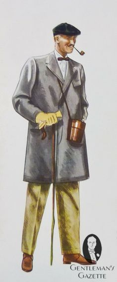 Grey covert coat with khaki cotton drill trousers, suede turf boots, green tweed varsity cap, flannel shirt, horizontal stripe bow tie & unlined yellow chamois gloves & pipe Vintage Gentleman, Vintage Men, Mens Spring Coats, Man Smoking, Pipe Smoking, Fashion Illustration Vintage, Fashion Illustrations, 1940s Mens Fashion, Classic Man