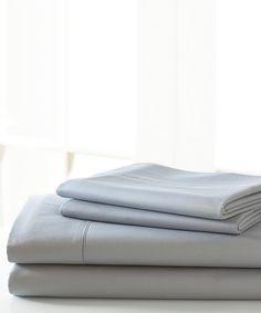 Silver Cotton-Blend Sheet Set