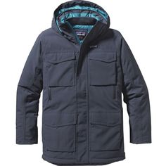 Patagonia Thunder Cloud Down Parka ($399) ❤ liked on Polyvore featuring men's fashion, men's clothing, men's outerwear, men's coats, mens insulated coats, mens parka coats, mens coats and mens down coats