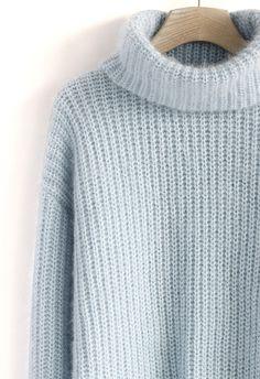 Fluffy Roll-Neck Sweater Dress in Pastel Blue//