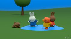 Miffy has lots of fun jumping in puddles! Watch Miffy's Adventures tonight at 7pm on @TinyPopTV #MiffyTime