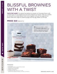February Taste Test Epicure  only $10 for pack of two Gluten Free Baking Mix, Peppermint Brownies, Coconut Curry, Plant Based Recipes, Treat Yourself, Quick Easy Meals, Easy Desserts, Matcha, Clean Eating