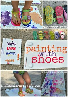 Painting with shoes!  So FUN!