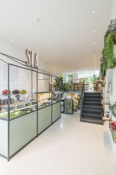 SLA, AMSTERDAM - Natural cafe with simple chairs and decorative plants — Jarrett Furniture - Supplying to individual hospitality projects in the UK and abroad Kiosk Design, Cafe Design, Salad Bar Restaurants, Salad Shop, Amsterdam, Counter Design, Hotel Restaurant, Bar Interior, Interior Design