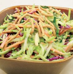 Dress up a bag of broccoli slaw and a jar of dressing with some basil, almonds and chow mein noodles. Everybody loves Creamy Basil Broccoli Slaw. It's so darn easy!