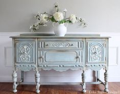 ON HOLD - Antique Refinished Ornate Jacobean Hand Painted French Country Shabby Chic Romantic Aqua Pastel Blue Buffet Sideboard