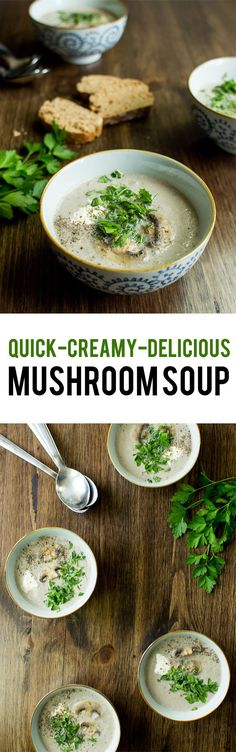 Vegetarian Mushroom Soup - Quick, Creamy, Delicious. We sort out the myths from the facts | http://hurrythefoodup.com