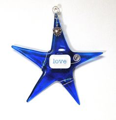 LOVE Christmas Ornament with Heart/ Cobalt Blue Wishing Star by SusanFayePetProjects #star #glass #ornament #handmade