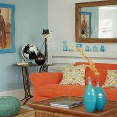 I'm inheriting an orange couch! Getting decoration ideas. I like this color scheme Orange Couch, Blue Living Room, Living Room Decor, Living Room Colors, Curtains Living Room, Blue And Orange Living Room, Room Paint, Orange Rooms, Living Room Orange
