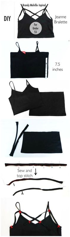 DIY Brandy Melville-Inspired Jeanne Bralette for Under $5 || It works nicely as a crop top or under a tank top! (Diy Crafts Clothes)