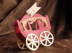 A princess carriage . . . cute paper template  Would be great for a birthday party with a castle cake (for example, angel food with inverted ice cream comes  for the towers)