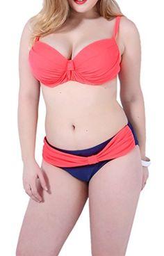 Yonas Women Two Piece Sexy Bikini Color Blocking Plus Size Tankini SwimwearSIZE XLPINK * For more information, visit image link.