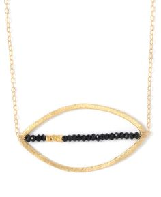 Lucy Dalton 'Crossing the Line' Gold Vermeil and Apatite Open Oval Necklace