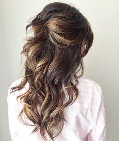 """Simple and romantic. Half up curls the Sunkissed way #sunkissedandmadeup #weddinghair #bridesmaidhair #bridalhair #weddinginspiration #iphoneography"""