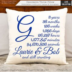 This 3 year and still counting anniversary cotton gift can be personalized with your names and monogrammed initial. Tell me the names and large