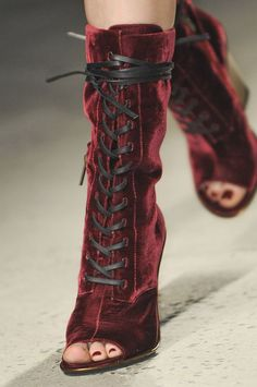 I am in love. Lace-up velvet sandal boots from Kenneth Cole Fall 2013
